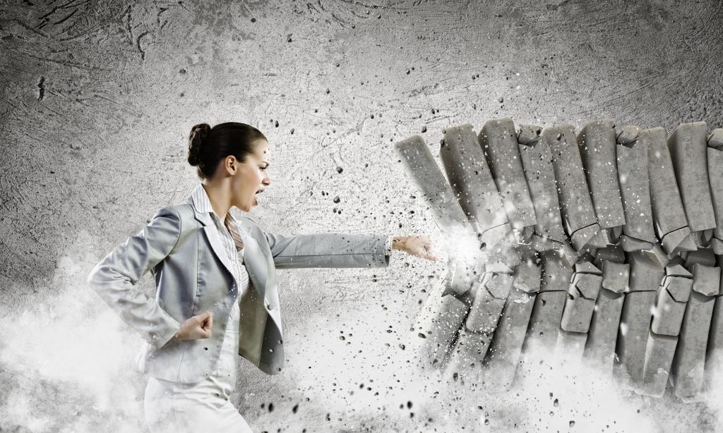 Woman Breaking Through